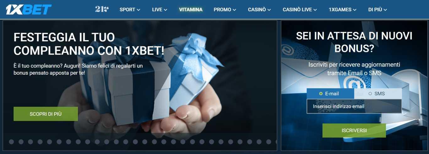 Il websito di scomesse 1xBet ti garantisce i vari bonus in Italia
